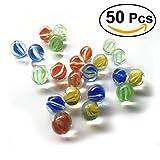 NUOLUX 16MM Glasperlen Kugeln für Kinder Katzen Augen Shooter Glasmurmeln, 50 Stück