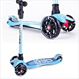 BAYTTER Kinderscooter Dreirad mit verstellbarem Lenker Kinderroller Roller Scooter LED Blinken für...