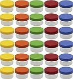 30 Salbendöschen, Creme-döschen, Salbenkruke 6ml Inhalt mit farbigen Deckeln - MADE IN GERMANY