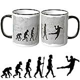 JUNIWORDS Tasse mit dem Schriftzug - Wähle Motiv & Farbe - 'Evolution Handball' - Schwarz