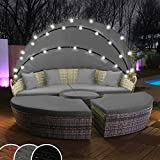 Polyrattan Sonneninsel mit LED Beleuchtung + Solarmodul inklusive Abdeckcover Rattan Lounge Sunbed...