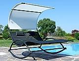 ASS Doppel Schaukelliege Sonnenliege aus atmungsaktivem Kunststoffgewebe mit Kopfpolster und Dach...