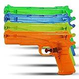 6 x HC-Handel 910557 Wasserpistole transparent 24 cm verschiedene Farben