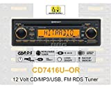 12 Volt PKW Auto Radio, RDS-Tuner, CD, MP3, WMA, USB, 12V CD7416U-OR
