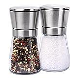 S/O® 2er Pack Salz- und Pfeffermühle im Set Gewürzmühle manuell Edelstahl unbefüllt mit Keramik...