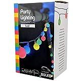 Party Lichterkette bunt 20m mit 80 LED Kugel Strombetrieben RGB IP44 für Balkon, Terrasse,...
