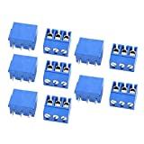 sourcingmap 10 Stk Gerade 5 mm Rastermaß PCB Platine Schraubklemmenblock Stecker Blau