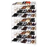 Homdox Metall Schuhregal Schuhschrank mit 10 Ablagen für bis zu 50 Paar Schuhe, ca L92 x W17 x...