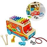 Xylophon Klavier, Steckbox, Pull entlang Auto, Holz Tiere Weihnachten Geburtstag Geschenke für...