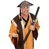 NET TOYS Chinesenhut mit Zopf Faschingshut Chinesen Hut Fasching asiatische Kopfbedeckung Asien...
