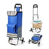 【Upgrade Version】Faltbarer Blau Einkaufstrolley mit Größerer Speicherplatz etwa 45KG, Groß...