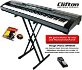 Clifton Stage Piano mit Sustainpedal, Netzteil und doppelstrebigen Keyboardständer, Notenbuch und...