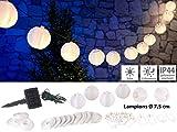 Lunartec Lampionkette: Solar-LED-Lichterkette, warmweiß, mit 20 weißen Lampions, 3,8 m, IP44 (Mini...