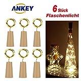 6x 20 LED Flaschenlicht Lichterketten warm weiß 78in(200cm) LED Flaschen Licht Kupferdraht Cork...