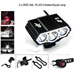 ConsteFire 6000LM CREE 3X XM-L Fahrradlampe Fahrradbeleuchtung Frontlichter (4 Licht-Modi, 3 LED)...