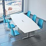 Weber Büro EASY Konferenztisch Bootsform 240x120 cm Weiß mit Elektrifizierung Besprechungstisch...