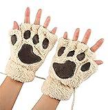 Demarkt Niedlich Katze Klaue Bär Pfote Plüsch Fingerlose Handschuhe Winter Halbfingerhandschuhe...