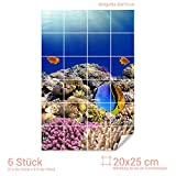 Graz Design 761555_20x25_50 Fliesenaufkleber Fische/Korallen für Kacheln | Bad-Fliesen mit...