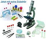EDU Toys Mikroskop Zoom 100x - 900x im Handkoffer Lernmikroskop mit extra Experimentierzubehörpaket...