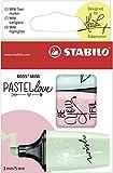 Textmarker - STABILO BOSS MINI Pastellove - 3er Pack - zartes Türkis, rosiges Rouge, Hauch von...