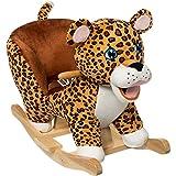 Stimo24 Schaukeltier Dschungel mit Sicherheitsgurt und Kippschutz (Leopard)