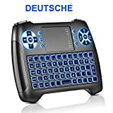 Mini Tastatur mit Touchpad Beleuchtet, Deutsch Funktastatur mit Maus, 2.4GHz QWERTY Keyboard...