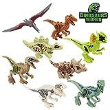 Baztoy Kinder Dinosaurier Figuren Spielzeug, 8PCS Dino Bausteine Spiele Sets Kunststoff Klein,...