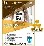 SKULLPAPER Premium A4 T-Shirt Textil-Transferfolie Bügelfolie für HELLE Stoffe / Textilien zum...