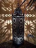 Orientalische Laterne aus Metall Schwarz Frane 130cm groß | Marokkanische Gartenlaterne für...