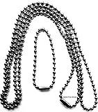Edelstahlkette Kette V4A Kugelkette Halskette für Anhänger Biker Dog Tag Ø 2,4 mm, ca. 70 + 11...