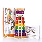 SCHMETTERLINE harmonisches Xylophon für Kinder aus Holz – Glockenspiel mit Notenheft und 2...