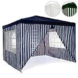 Pavillon Partyzelt 3x3m blau weiß wasserdicht + 4 Seitenteile Gartenzelt Eventzelt Marktzelt...