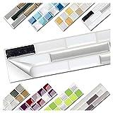 Wandora 1 Set Fliesenaufkleber 27 x 4,7 cm Schwarz Metallic Weiß Silber Ziegel Design 17 I 3D...
