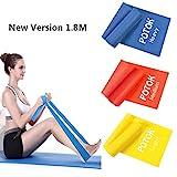 Potok Premium Gymnastikband Set – 3 Fitnessbänder – Extra lange (1.8m) Übungsbänder für...