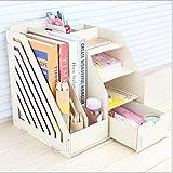 Holz Büro Desktop-Aufbewahrungsbox Information Regal Kinder-Student Bücherregal Ordner Datei-Box...