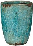 Vase, Pflanztopf Fina aus Terrakotta in türkis, 1 Stück, ca. 19 cm x 13 cm x 25 cm