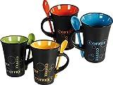 FiNeWaY @ livivo 4er Set Kaffeetassen mit Löffel, Tee-Set, Drink, Latte-Tassen, Keramik, Küche,...