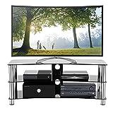 1home GT6 LCD-/Plasma-TV Rack Glas Tisch Ständer LCD Rack LED Tisch Fernsehtisch Schwarz Glas drei...
