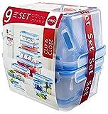 Emsa 515481 Food Clip & Close, Plastik, Transparent / Blau, Packung mit 9 Boxen
