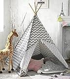 Kinder Tipi Zelt für Jungen, 1,5 m Grauer Chevron Leinwand Kinder spielen Zelt für Indoor...