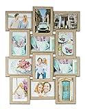 levandeo Bilderrahmen Collage B x H: 45x58cm 12 Fotos 10x15 Eiche gekälkt MDF Holz fertig montiert...