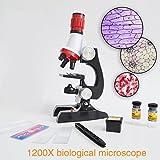 Tiptiper Anfänger Mikroskop Kit, Mikroskop Kit Labor LED 100X-1200X Home Schule Pädagogisches...