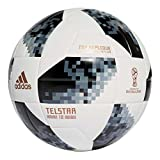 adidas Herren Telstar 18 Top Replique Ball, White/Black/Silver Metallic, 5
