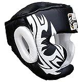 Boxing Kopfschutz Schutzhelm MMA Training Pro Full Face, Wange Schutz Echtes Leder Kopfbedeckung (M)