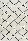 Mint Rugs 102753 Design Verlours Deep-Pile Teppich Hash, Polypropylen, Creme schwarz, 290 x 200 x...