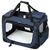 SONGMICS Hundebox Transportbox Auto Hundetransportbox faltbar Katzenbox Oxford Gewebe dunkelblau M...