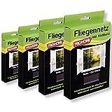 Insektenschutz Fliegengitter Pro Home 4er Pack Mückennetze 130x150 cm in schwarz, reißfest und...