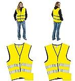 Warnwesten 4er Set gelb DIN EN ISO 20471 Sicherheitsweste zertifiziert mit Tasche Warnwesteset Gelb...