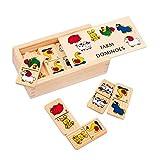 """Domino """"Farm"""" klein aus Holz, mit süßen Tiermotiven, in einer Holzbox mit Schiebedeckel, ideal..."""
