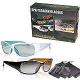 SJ3D 2 Spieler Splitscreen Gaming Brillen – hochwertiges Set Gaming Brille schwarz/orange &...